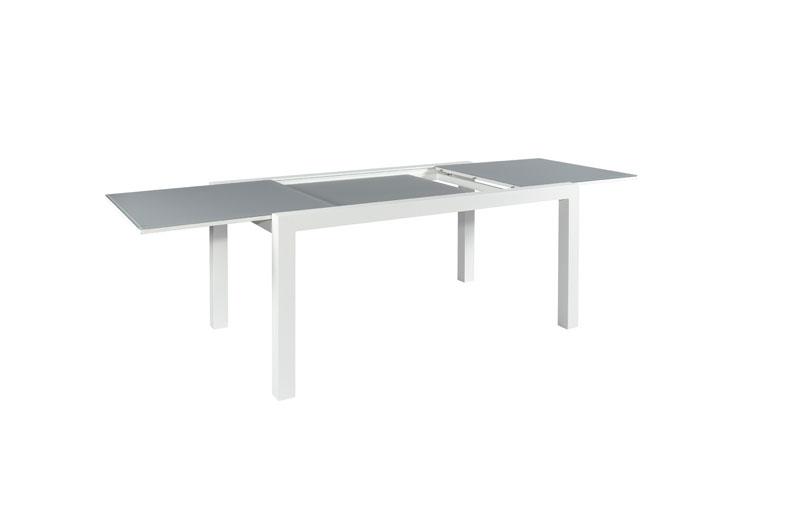 Set Tisch Livorno Glas 220/330x106cm + 6 Stapelsessel Sevilla weiß